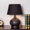 1 Head Ceramic Table Light Countryside Black Onion Hotel Nightstand Lamp with Fabric Lamp Shade