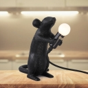 Resin Black Night Light Mouse Clenching 1 Head Farmhouse Table Lighting in Black