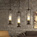 Resin Flameless Candle Pendant Light Countryside 1 Head Bistro Hanging Lamp with Black Rectangle Frame