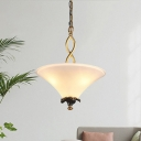 Lodge Inverted Flare Chandelier 3-Bulb Frosted White Glass Pendant Lighting with Twisted Arm in Brass
