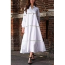 Gorgeous Ladies Blouson Sleeve V-Neck Bow Tie Front Lace Trim Maxi Swing Dress in White