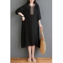 Vintage Stylish Womens Three-Quarter Sleeve V-Neck Floral Print Linen Long Oversize Dress in Black