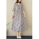 Pretty Ladies Half Sleeves V-Neck Ditsy Floral Print Linen Midi Swing Dress
