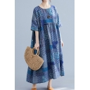 Vintage Ladies Navy Short Sleeve Round Neck All Over Floral Print Linen and Cotton Maxi Oversize Dress