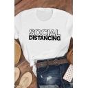 Fashionable Girls Roll Up Sleeve Crew Neck Letter SOCIAL DISTANCING Print Slim Fit T Shirt