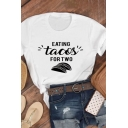 Fancy Girls Roll Up Sleeve Crew Neck Letter EATING TACOS FOR TWO Taco Graphic Relaxed Fit T Shirt
