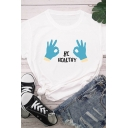 Fancy Girls Roll Up Sleeve Crew Neck Letter BE HEALTHY Gesture Graphic Regular Fit T Shirt