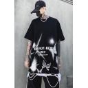 Street Boys Do Not Bend Letter Graffiti Butterfly Graphic Half Sleeves Crew Neck Oversize T-Shirt