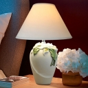 1 Bulb Wide Cone Table Light Korean Garden White Fabric Nightstand Lamp with Flower Urn Pedestal