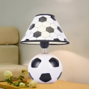 Kids Football Ceramic Table Light 1-Light Night Stand Lamp in Black and White with Cone Lamp Shade