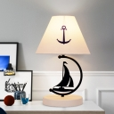 Kid Sailing Boat Nightstand Light Metal 1 Bulb Bedroom Table Lamp with White Cone Fabric Lampshade