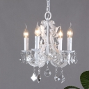 Faceted Crystal White Chandelier Lamp Candle-Style 4-Head Traditional Hanging Light Fixture