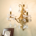 Vintage Style Candelabra Sconce Lighting 1/2-Bulb Metallic Wall Mount Lamp in Gold with Crystal Droplet