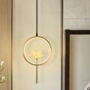 LED Ring Hanging Lighting Modern Gold Finish Metal Ceiling Pendant Lamp with Lotus Crystal Shade