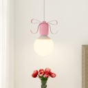 Ribbon Down Lighting Pendant Simple Metal Single Grey/Pink Hanging Ceiling Light with Open Bulb Design
