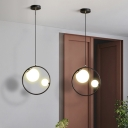 Modernist 2-Light Chandelier Black Circle Hanging Lamp Kit with Orb Frosted Glass Shade