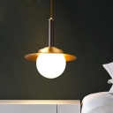 Sphere Down Lighting Pendant Postmodern Ivory Glass Single Dining Table Suspension Light with Brass Flat Cap