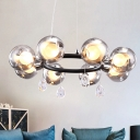 Modern 8 Heads Chandelier Light Black Circular Hanging Lamp with Orb Smoke Dimpled Glass Shade