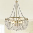 4 Heads Metal Pendant Chandelier Contemporary Gold Basket Bedroom Ceiling Light with Crystal Bead