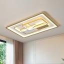 Rectangular Living Room Flushmount Lamp Metallic 35.5
