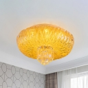 Gold Bowl Flush Light Modern Yellow Textured Glass LED Bedroom Flushmount with Crystal Bottom