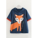 Womens Fox Pattern Contrasted Short Sleeve Ears Hooded Relaxed Fit Preppy Looks T-Shirt
