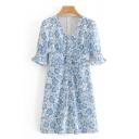 Ladies All over Floral Printed Bell Sleeves V-Neck Lace up Waist Ruffled Pretty Short A-Line Dress in Blue