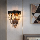 2-Bulb Oval Faceted Crystal Sconce Antiqued Black Tapered Wall Mounted Light with Scalloped Edge