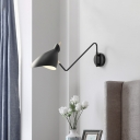 Single-Bulb Wall Mounted Lamp Nordic Wave-Edge Shaded Iron Rotating Sconce Light in Black/White