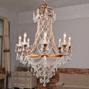 Rust 8-Bulb Chandelier Lamp Modernist Metal Candle Suspension Light with Crystal Strand