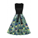 Unique Peacock Feathers Printed Patched Sleeveless Round Neck Bow Tie Waist Mid Pleated Swing Dress in Green