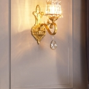 Traditional Flower Wall Mount Lamp 1 Head Prismatic Crystal Sconce Light with Swirl Arm in Gold