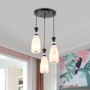 3-Head Bottle Cluster Pendant Light Country Style White Glass Petal Pattern Ceiling Hang Fixture with Black/Gold Round Canopy