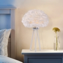 Modernism Feather Table Lighting Fabric 1 Light Bedside Nightstand Lamp in White with Tripod Base