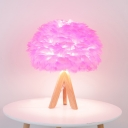 Fabric Feather Table Lighting Modernist 1-Bulb Desk Lamp in Pink with Tripod Wooden Base