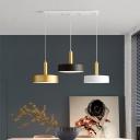 Round Metal Cluster Pendant Light Modernist 3 Heads White-Black-Gold Hanging Lamp Kit
