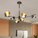 Blue/Black and Gold Mussel Shaped Chandelier Modern Nordic 6/8-Head Iron Hanging Ceiling Lamp for Living Room