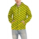 Fashionable Cool Mens Long Sleeve Drawstring Grid 3D Pattern Zip Up Relaxed Hoodie in Yellow