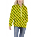 Popular Creative Girls Long Sleeve Drawstring Grid 3D Printed Pouch Pocket Loose Hoodie in Yellow
