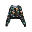Chic Womens Long Sleeve Drawstring All Over Dinosaur Printed Relaxed Crop Hoodie