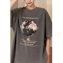 Korean Girls Short Sleeve Crew Neck Letter THE ASTRONUT Planet Print Longline Oversize Graphic Tee Top