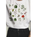 Pretty Girls Roll Up Sleeve Crew Neck Letter Floral Graphic Loose Fit T Shirt in White