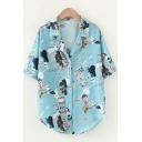 Pretty Girls Short Sleeve Notched Collar Button Up Cartoon Letter All Over Graphic Curved Hem Loose Shirt in Light Blue