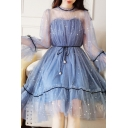Preppy Girls Bell Sleeves Crew Neck Bow Tie Details Sequins See-Through Mesh Mid Pleated A-Line Dress