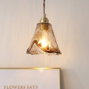 Brass Floral Hanging Ceiling Light Modernism 1-Bulb Amber Rippled Glass Pendant Lamp Kit