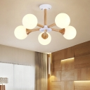 5-Bulb Bedroom Chandelier Light Fixture Modern Wood Radial Hanging Ceiling Lamp with Ball White Glass Shade