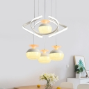 Creative Ellipsoid Shaped Pendant Contemporary Acrylic 4 Bulbs White Cluster Hanging Light with Twisting Deco
