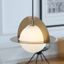 Sphere Milk White Glass Pendant Post Modern 1-Light Gold Finish Hanging Ceiling Lamp with Panel Detail