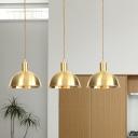 Industrial Domed Multi Light Pendant 3/5/7-Light Metal Tandem Hanging Ceiling Lamp in Gold