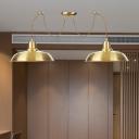 2/3/4-Head Barn Ceiling Pendant Light Industrial Gold Finish Metal Swag Multi Hanging Light Fixture